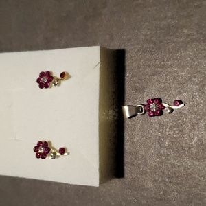 Jewelry - Sterling silver hot pink flower studs and pendant